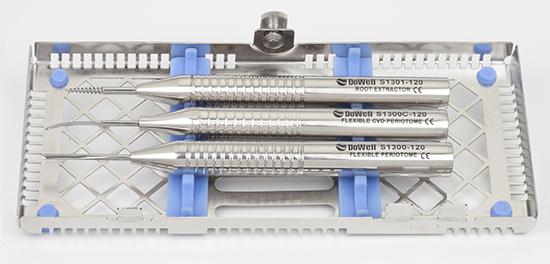 periotomos que permiten permite el corte del ligamento periodontal y ayuda a la extracción atraumática del diente